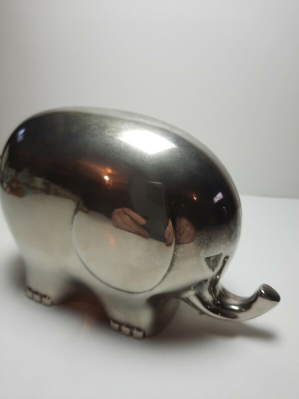 Silver Plate Elephant Coin Bank India