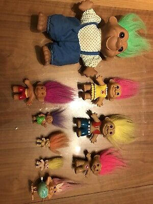9 Various different types of 90's Trolls Troll Dolls Rare Vintage Collectables