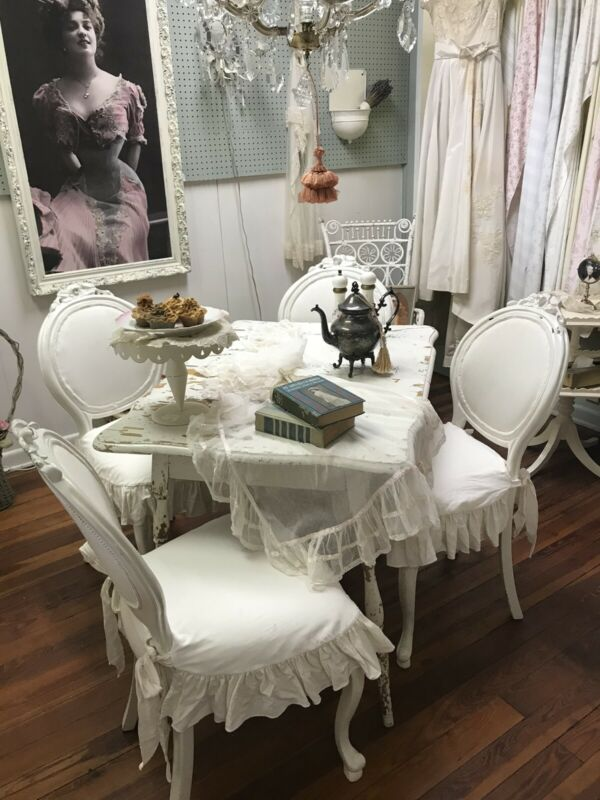 Fabulous Set of 4 Creamy White Antique Chairs with Slipcovers - Shabby Chic!