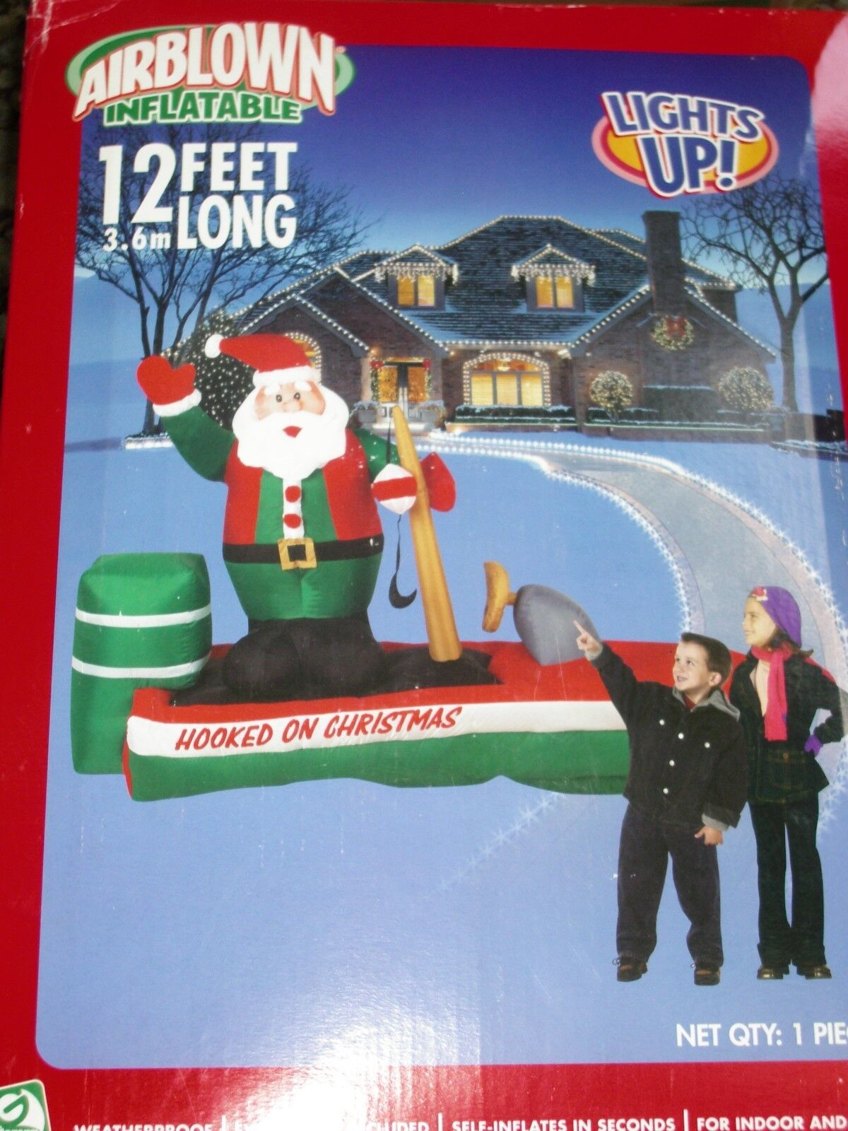 '12 Gemmy Santa Bass Boat Lighted Christmas Airblown Inflatable Blow-up