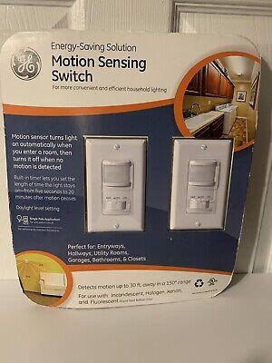 Ge 2-pack Motion Sensor Onoff Light Switch Timer White 120 Volt 500 Watt Decor