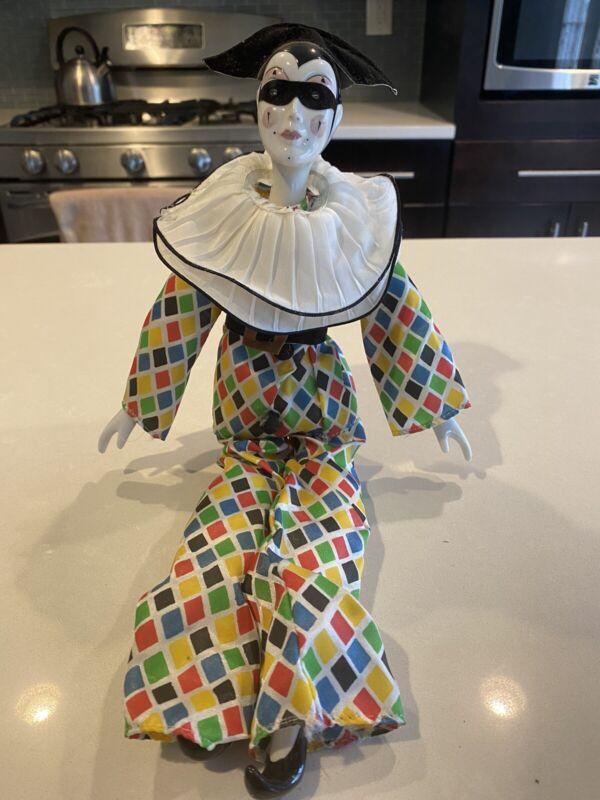 """Vintage ROC 16"""" Porcelain Jester Mardi Gras Clown Doll"""