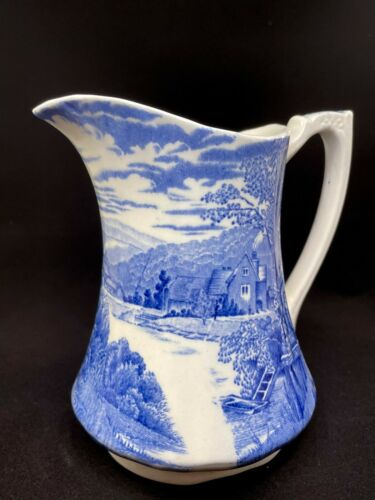 Vintage Alfred Meakin Pitcher Blue & White Staffordshire England