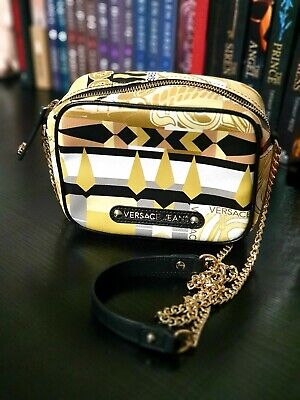 Versace Jeans Crossbody Bag Chain Geometrical Yellow White Gold