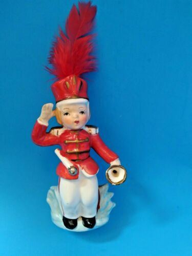 Vintage July 4th Patriotic Marching Band Trumpet Ceramic Figure, 1950s-60s Japan