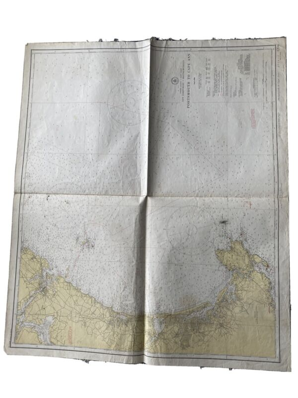 Original Nautical Chart Map Portsmouth to Cape Ann, MA 1206  Issued 1941