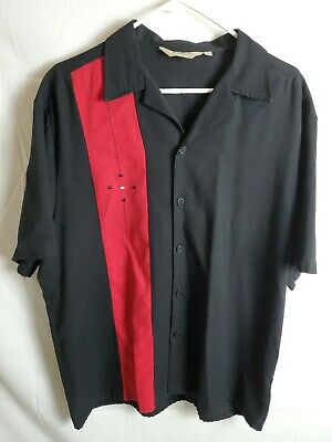 Da Vinci California Shirt L Large Black Red Bowler Rockabilly Lounge Button (Bowler Button Down Shirt)