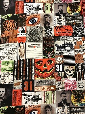 HALLOWEEN Materialize Tim Holtz Vintage Apothecary Gothic Poe Labels Fabric BTHY