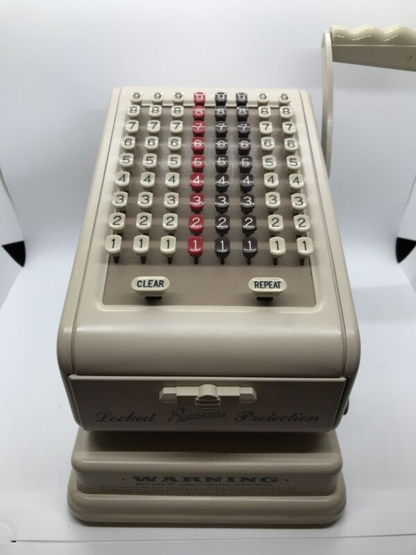 Vintage Paymaster Series 7000 Check Writer Machine WITH KEY & COVER