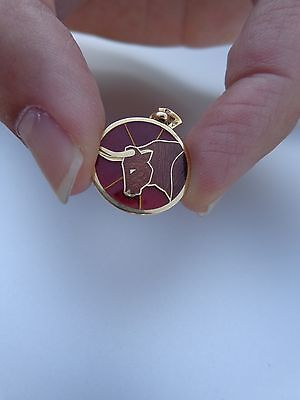 French Art Deco 18K Gold Enamel Taurus Bull Zodiac Arthus Bertrand Charm Pendant