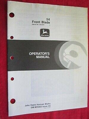 John Deere 316 317 318 330 Lawn Tractor 54 Front Blade Operators Manual