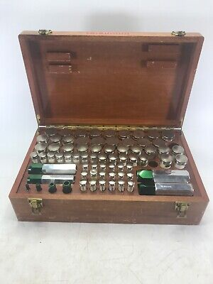 Rare Van Keuren Co. Thread Measuring Wire Set W Wooden Case 2 Missing Pieces