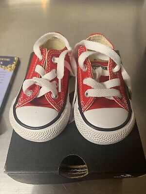 Infant Toddler Size 4 Red Low All Stars Converse Shoes Sneakers
