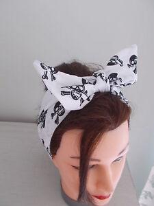 HEAD SCARF HAIR BAND BANDANNA SKULL WHITE ROCKABILLY EMO HALLOWEEN PIRATE NEW