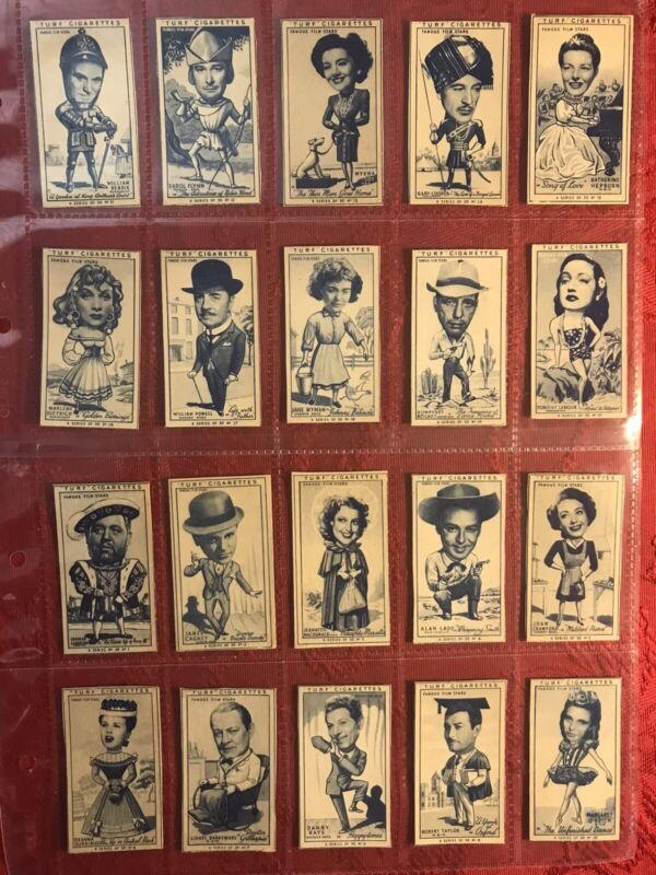 1949 CARRERAS FAMOUS FILM STARS TURF CIGARETTE CARDS FULL 50 CARD SET-EXCELLENT