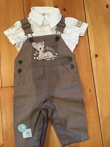 Bambi Overalls and Shirt set (Brand New) size 3-6mth
