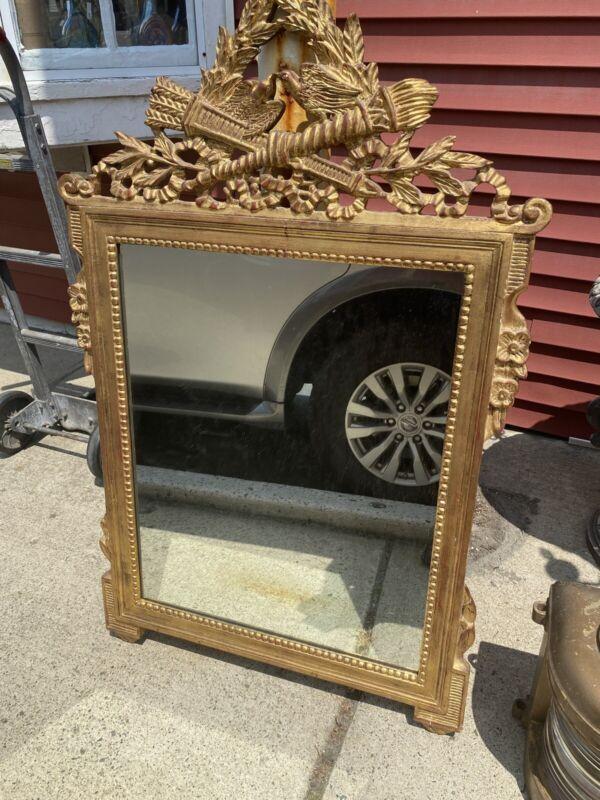 Kindel Furniture French  Carved wood mirror gold leaf guilt