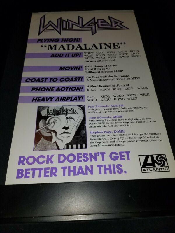 Winger Madalaine Rare Original Radio Promo Poster Ad Framed!