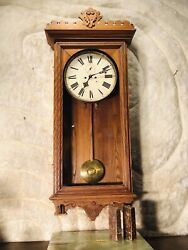 RARE VINTAGE ANTIQUE USA WATERBURY WALL CLOCK,2 WEIGHT DRIVEN& PENDULUM