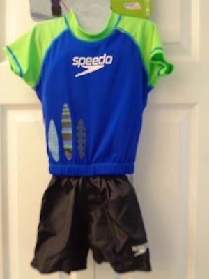 (Speedo Kids Swim Neoprene 2 Pc Flotation Suit Swimsuit Blue+Green Surfboards)