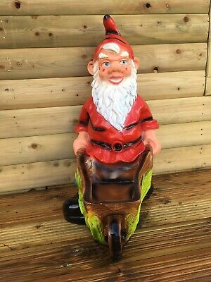 LARGE Gnome Planter/Barrow Statues Garden/Patio/Lawn Ornament Resin 67 cms