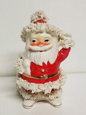 Vintage Spaghetti Santa Ceramic Planter Waving Santa Clause Christmas Red Suit