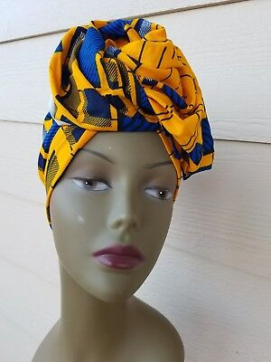 Yellow And Blue Headwrap;African Headwrap; African Clothing; African Fabric