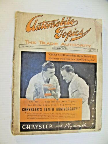 "1933 ""AUTOMOBILE TOPICS"" MAGAZINE - CHRYSLER and PLYMOUTH. ORIGINAL!"