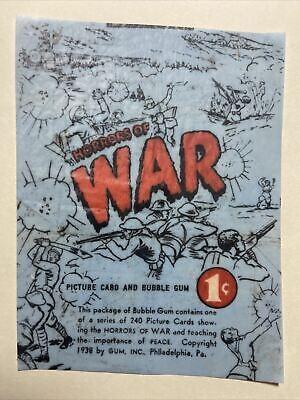 1938 Gum Inc Horrors of War Card Gum Wax Wrapper Print