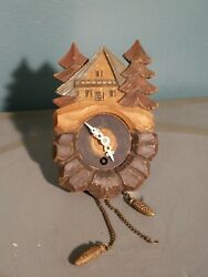 VINTAGE Handcarved  SMALL MINIATURE  WALL WOOD CUCKOO CLOCK 5 Unique