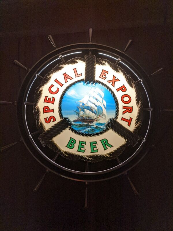 Vintage Heilemans Special Export Lighted Beer Sign Ship Wheel Nautical Old Style