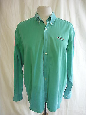 Mens Shirt - Calvin Klein Jeans, size L, green coloured, denim, fade out - 7980