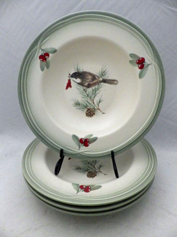 """Pfaltzgraff Winterwood pattern - 4 Rim Soup bowls- Cream & Green - 9 7/8"""" - 2010"""