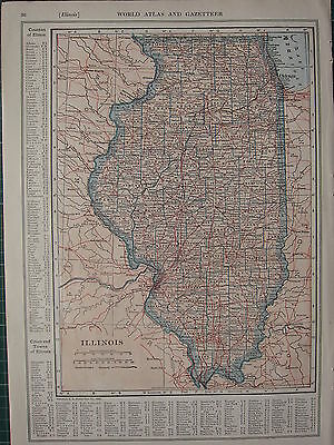 1926 MAP ~ ILLINOIS STATE PRINCIPAL CITIES & TOWN COUNTIES SPRINGFIELD MASON