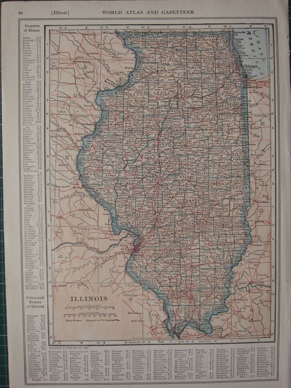 1926 MAP ~ ILLINOIS STATE PRINCIPAL CITIES & TOWN COUNTIES SPRINGFIELD MASON