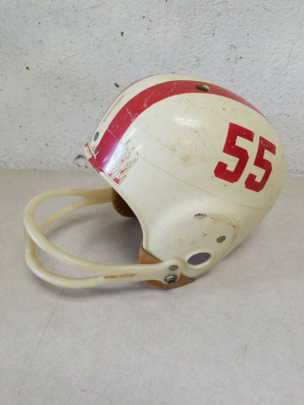 Vintage 1960s Rawlings Youth Football Helmet Model FH1 Large # 55, Red Stripes