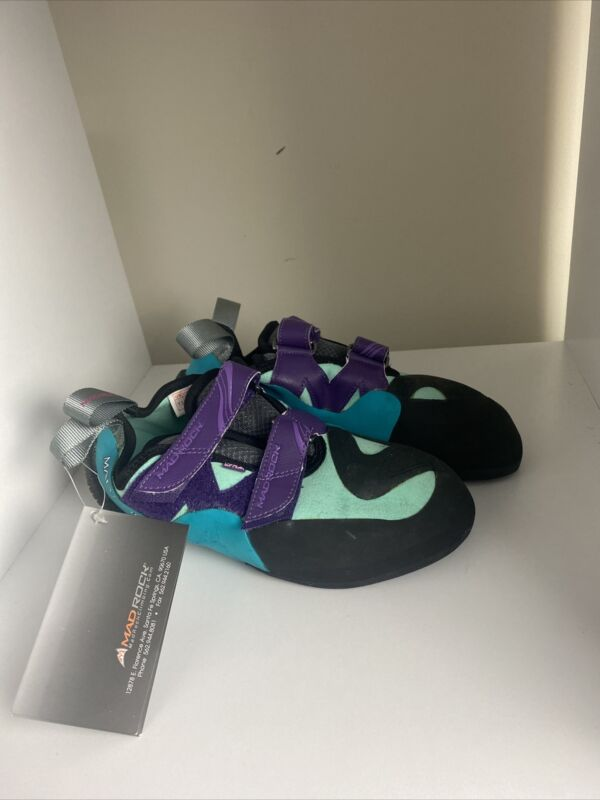 Mad Rock Kids Lyra Climbing Shoes Teal Violet Size 7.5