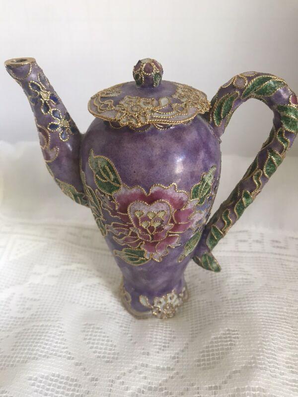 Mini Violet Cloisonne and Enamel Coffee Pot Pink Purple Floral Design
