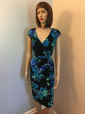 RALPH LAUREN AMERICAN LIVING S 6 Navy Floral Jersey Surplice DRAPED SHEATH DRESS
