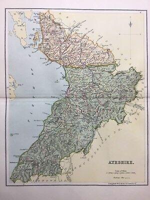 Ayrshire, Antique County Map c1900, Scotland, Atlas, Ballantrae Girvan Saltcoats