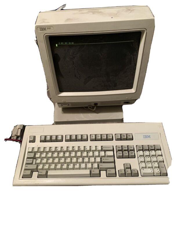 Working IBM 3151 circa 1991 Green CRT Terminal monitor, keyboard, manual