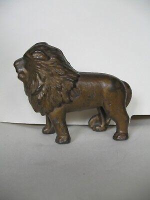 AWESOME Antique  Cast Iron LION BANK