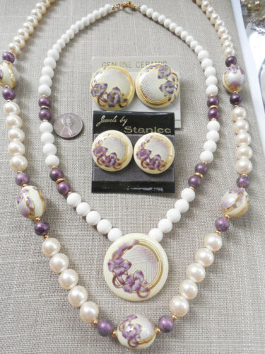 Vintage NOS 2 sets nice pretty ceramic necklaces pcd earrings D23