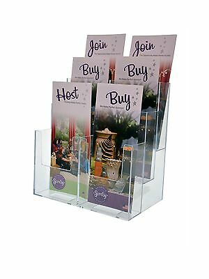Clear 6 Pocket Tiered Brochure Holder For 3-34w Literature