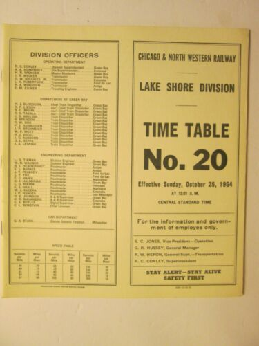 Chicago & North Western Time Table No. 20 Lake Shore Division Oct. 25, 1964
