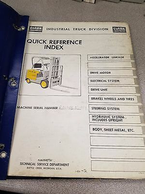 Clark Forklift Ecls40 Quick Reference Index Manual