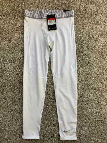 Nike Pro Youth Boys Training Tights Fitted White BV3516 size L XL