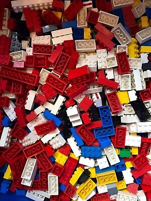 Vintage  LEGO Joblot 100 X Assorted Bricks 2X2, 2X3,2X4 Etc Mixed Colours