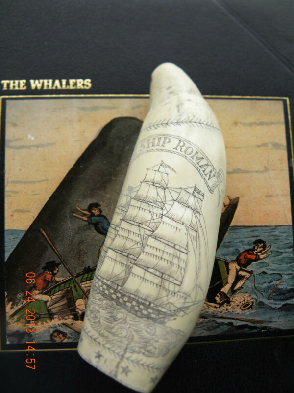 "SCRIMSHAW WHALE TOOTH REPLICA  ""ROMAN"" 7 inches long GREAT DETAILS"