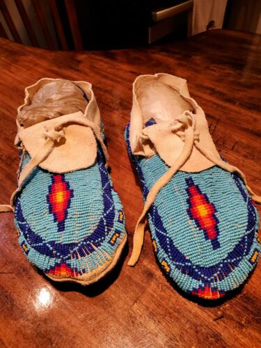 Larger Size Beaded Moccasins